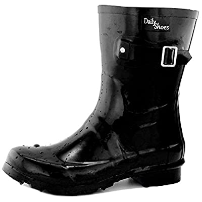 DailyShoes Women's Mid Calf Buckle Ankle High Hunter Rain Round Toe Rainboots