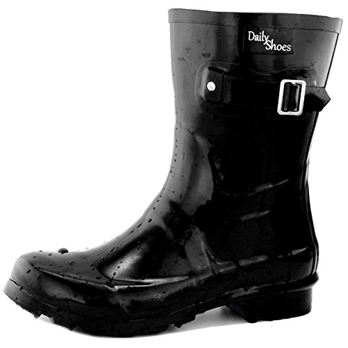DailyShoes Damen Mittelkalb Schnalle Ankle High Hunter Regen Round Toe Rainboots Schwarz
