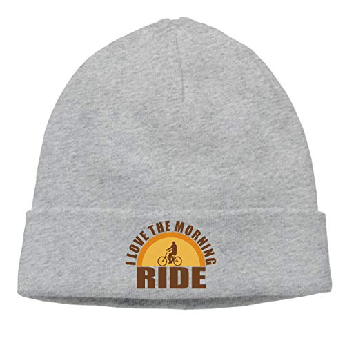 Knit Beanie Hat Warm Skull Cap I Love Ride Fold Beanie Toque Gray ()