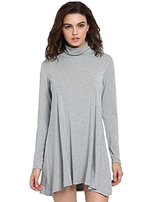 SheIn Women's Casual Loose Turtleneck Long Sleeve T-shirt Dress