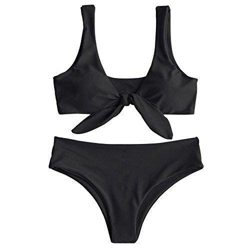ZAFUL Womens Padded Front Knot Bikini Set Black M (Small Padded Bikini)