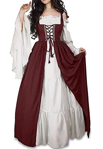 Abaowedding Womens's Medieval Renaissance Costume Cosplay Chemise and Over Dress 2X-large/3X-Large Wine Red and Ivory -