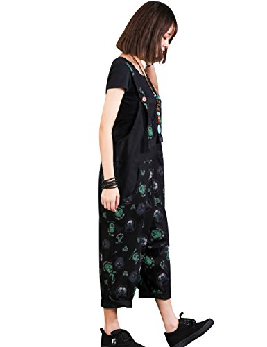 Zoulee Women Strap Rompers Jumpsuits Denim Casual Bib Pants Floral Wide Leg Cropped Pants Overalls Style 4 Black by Zoulee (Image #2)