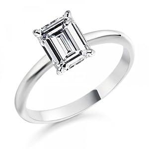 Diamond Manufacturers - Bague de fiancailles avec diamant Émeraude Femme - Or blanc 750/1000 (18 cts) - Diamant 0.35 ct