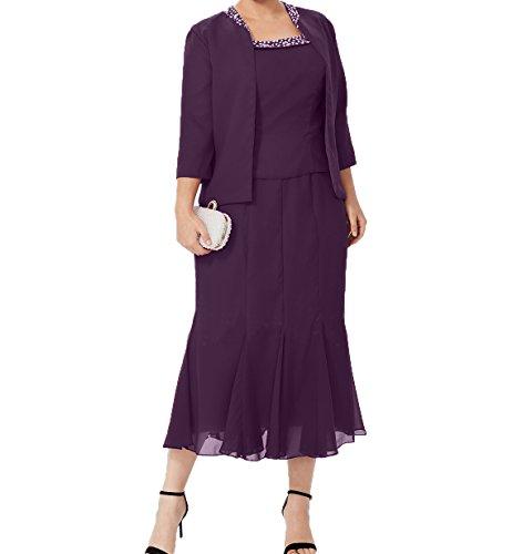 Wadenlang Damen Etuikleider Partykleider Jaket aus Ballkleider Traube mit Abendkleider Chiffon Charmant Brautmutterkleider 5TC1wx5q