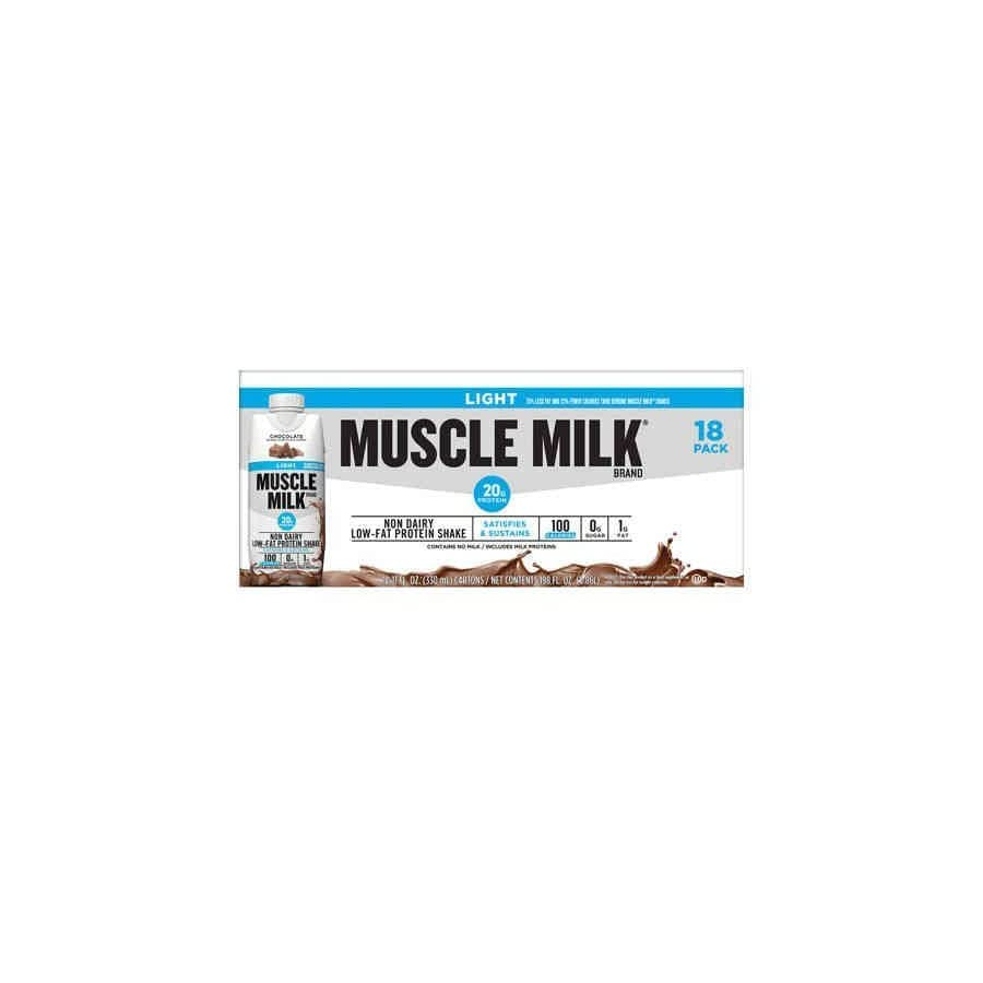 Muscle Milk Light Ready to Drink Shake, Chocolate, 11 Ounce Cartons (Pack of 18)
