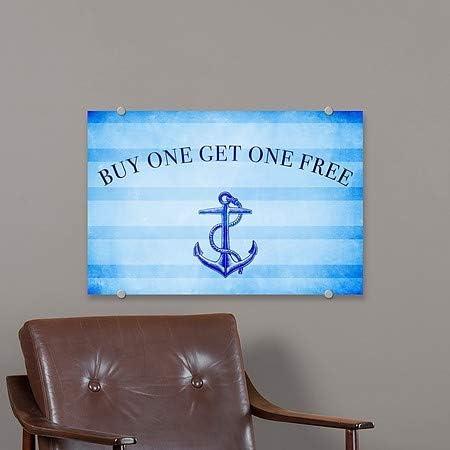 CGSignLab 36x24 Nautical Stripes Premium Brushed Aluminum Sign Buy One Get One Free