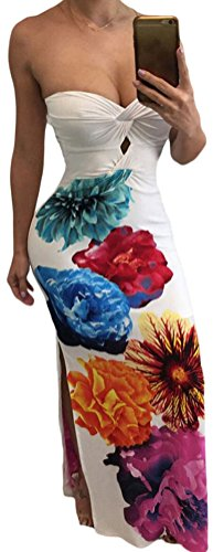 YeeATZ Women Sexy Twist Front Bandeau Maxi Floral Dress