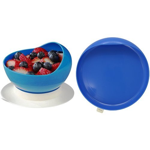 Ableware Scooper Bowl and Scooper Plate with Suction Cup Base, Blue by Maddak Inc.