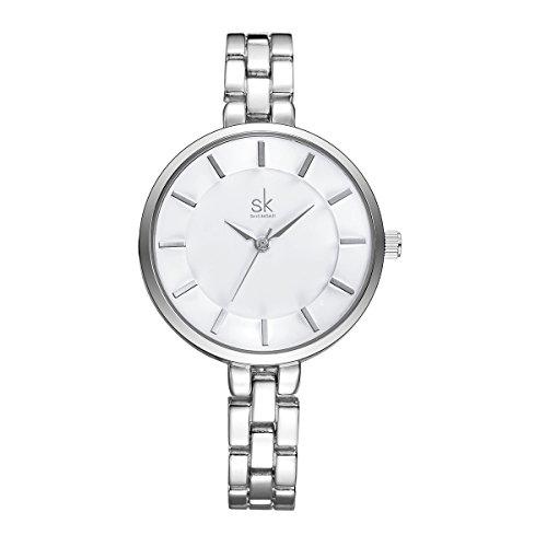 SHENGKE SK K0009 Fashion Silver Watches Stainless Steel Women's Quartz Wrist Watches (Watch Silver Round)