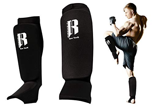 RIMSports Muay Thai Shin Guards Kickboxing – Premium MMA Shin Guards and Shin Pads – Ideal Shin Guard for MMA, Wrestling, Sparring, Muay Thai, Kickboxing & Karate (Black, S/M)