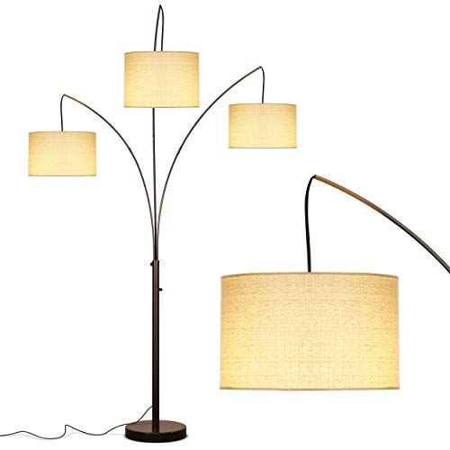 Brightech Trilage – Modern LED Arc Floor Lamp with Marble Base – Free Standing Behind The Couch Lamp for Living Room – 3 Hanging Lights, Great for Reading – Oil Rubbed Bronze