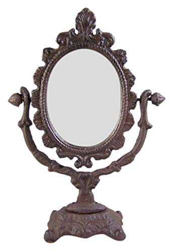 Large Rustic Cast Iron Tabletop Oval Vanity Mirror, 11 1/2 Inches (Old Vanity Fashioned Table)
