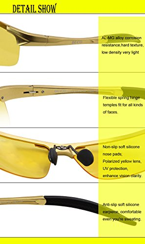 48e211db6c03 Duco Night-vision Glasses Polarized Night Driving Men's Shooting Glasses  8177 (Gold, Yellow)