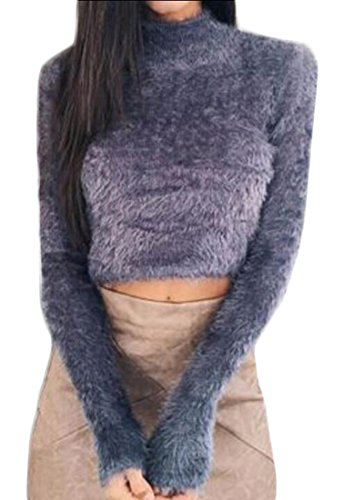 X-Future Womens High Neck Faux-Fur Long Sleeve Crop Tops Knit Pullover Sweaters Purple US XS