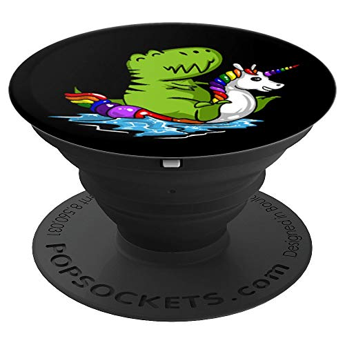 T-Rex Dinosaur Riding Unicorn Float Funny Pool - PopSockets Grip and Stand for Phones and Tablets