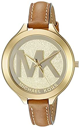 Michael Kors Women's MK2326 Slim Runway Stainless Steel Watch With Brown Leather Band