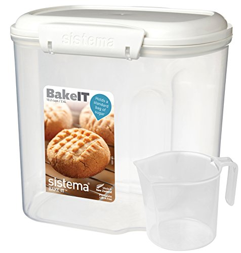 Sistema Bake It Food Storage for Baking Ingredients, Sugar Container with Measuring Cup, 10 Cup