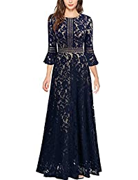 Women's Vintage Full Lace Contrast Bell Sleeve Formal Long Dress