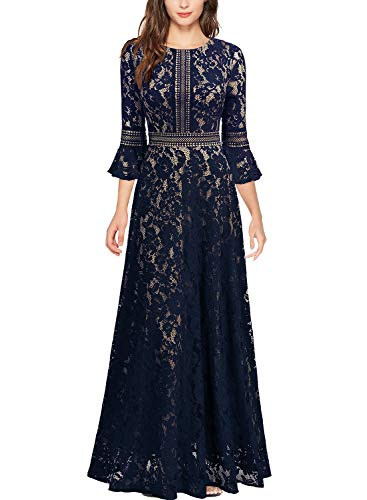 MISSMAY Women's Vintage Full Lace Contrast Bell Sleeve Formal Long Maxi Dress (Medium, Navy Blue-Long)