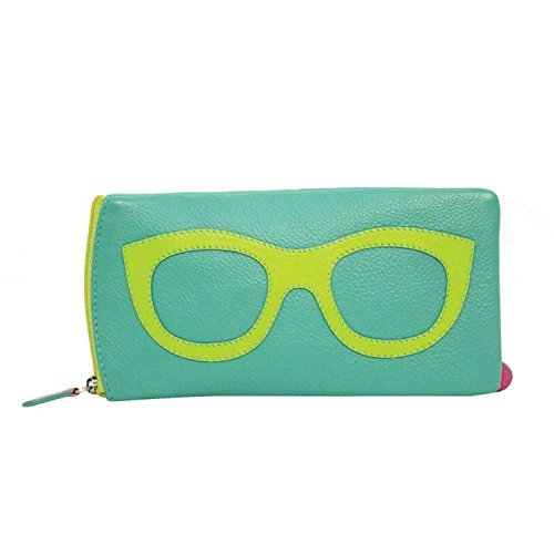 Women's Leather Eyeglasses Case - Zipper Close - 7'' x 4'' - Turquoise with Leaf