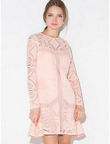 PU&PU Robe Aux femmes Ample Vintage,Couleur Pleine Col Arrondi Au dessus du genou Polyester , pink-xl , pink-xl