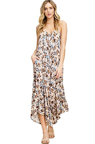 Annabelle Women's Plus Size Sleeveless Strap V-Neck Wide Leg Floral Print Jumpsuit with Pockets Stone X-Large J8075