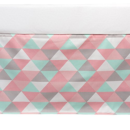Lolli Living 100% Cotton Crib Bed Skirt (Sparrow). Tripod Pattern- Pink, Grey, and Seafoam Triangle Machine-Washable Bed Skirt for Baby Crib