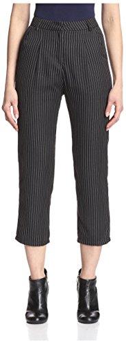 Six Crisp Days Women's Classic Tailored Trousers, Black Pin Stripe, (Pinstripe Spandex Trousers)