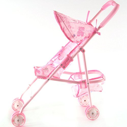 Irony Pink Doll Stroller Baby Carriage Foldable with 4 Wheels with Hood [並行輸入品]   B07JC9FQYW