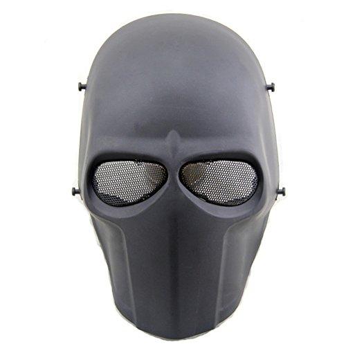 ATAIRSOFT Airsoft Mask Full Face Paintball Hockey BB Protective Mesh Mask Black
