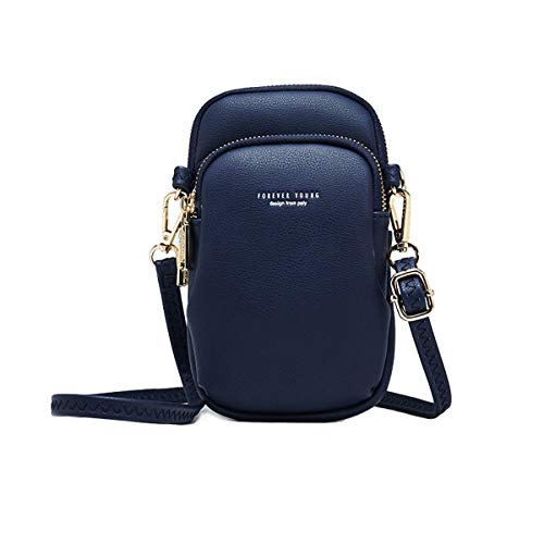 Women Crossbody Pouch Cellphone Bags Soft Leather Pocket Retro Travel Bag With Adjustable Strap DarkBlue
