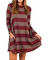 Women Casual Long Sleeve Pleated T-Shirt Dress Loose Swing Tunic Dresses with Pockets (Large, Red)