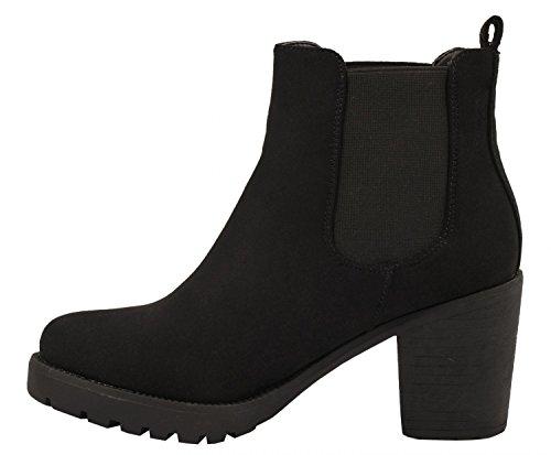 WLITTLE Damen Stiefeletten Stiefel Boots Schuhe mit Blockabsatz in Hochwertiger Wildlederoptik
