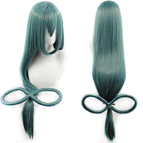 Long Straight Length: 35 inch with Bow Dark Green Women Cosplay Costume Christmas Halloween (Best Wig With Bows)