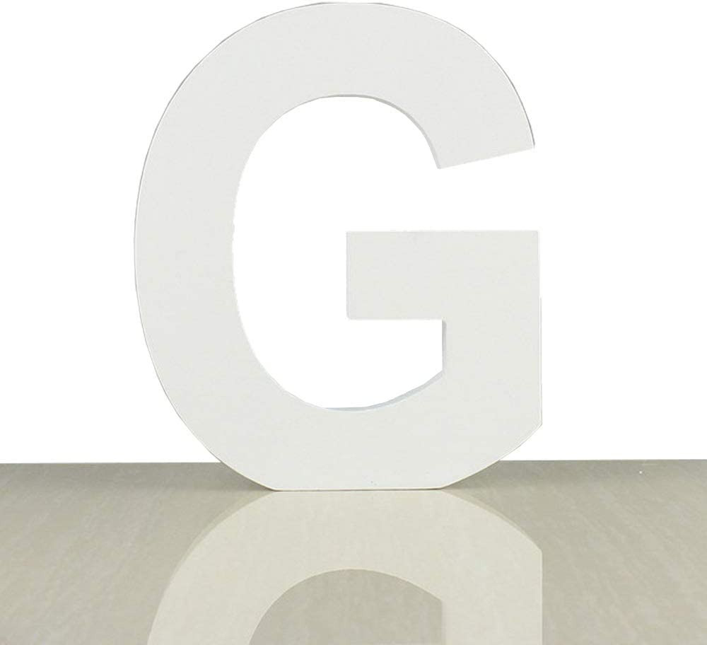 ZOOYOO White Wood Letter G for Decoration Wall Letters Marquee Alphabet DIY White Words Sign Hanging for Home Bedroom Office Wedding Party Decor