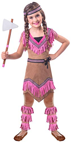 Girls Native American Cutie Indian Western Wild West International Carnival Fancy Dress Costume Outfit 4-12 Years ... (6-8 Years)