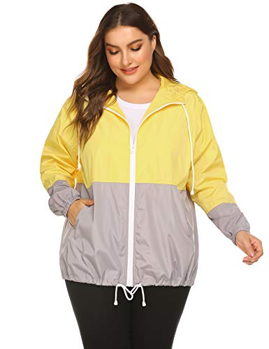 (IN'VOLAND Women's Plus Size Raincoat Rain Jacket Lightweight Waterproof Coat Jacket Windbreaker with Hood Yellow)