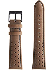 Armogan Genuine Suede Rally Perforated Leather Watch Strap - SR52B - Brown - Mens Wristwatch Band - 22mm width