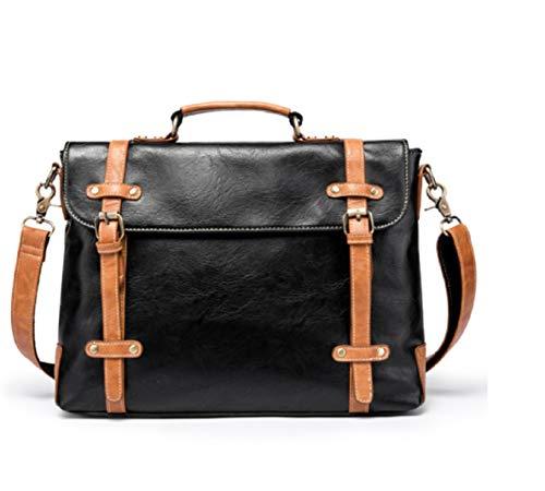 ZHRUI Bags Viajes Gran Negro Capacidad Moda Cuero Messenger Bag Retro Messenger Messenger Courier Crossbody Bags gFqwrgnxE