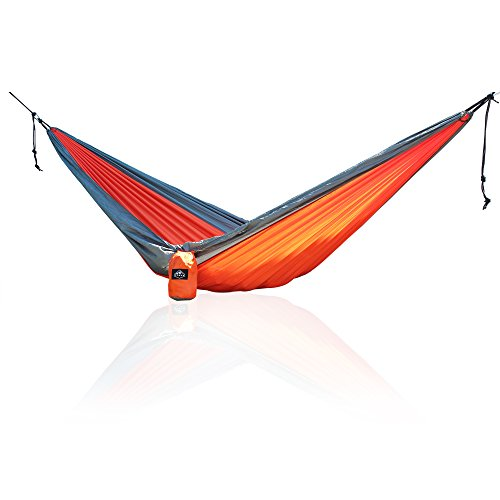 Trekk XS Compact Nylon Camping Hammock – With Straps – Day-Trek Size (Orange & Grey)