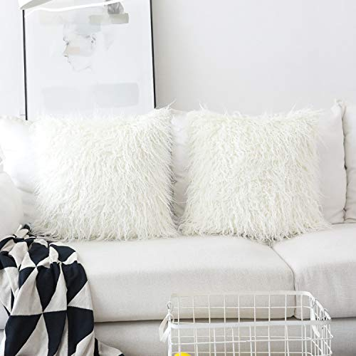 HOME BRILLIANT Set of 2 Decorative Faux Fur Euro Sham Large Fuzzy Throw Pillow Cover for Bed 24