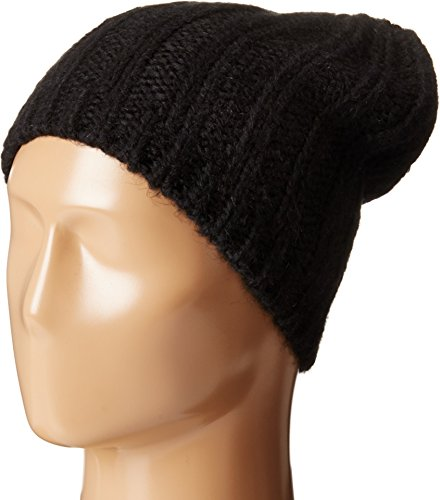 Hat Attack Women's Rib Slouchy Beret Black Hat One Size