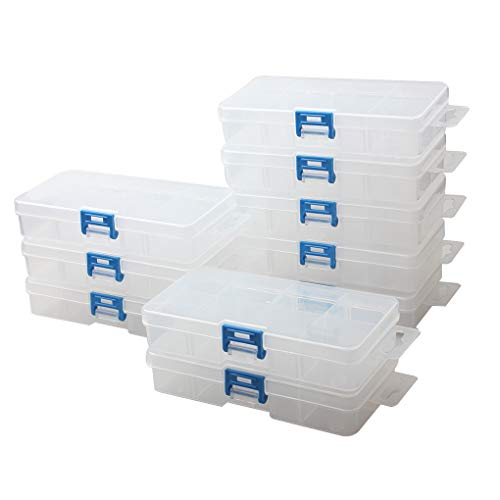 (BangQiao 10 Pack Small Adjustable Plastic Storage Divider Box,Plastic Bead Organizer Box with 8 Grids, Clear )