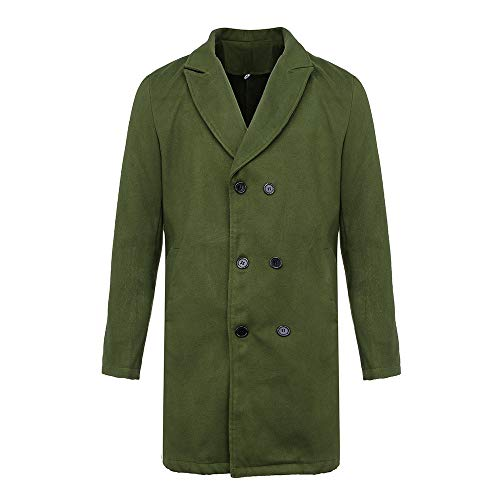 New Winter Men Slim Stylish Trench Coat Double Breasted Long Jacket Parka (XL, Z-Army Green)