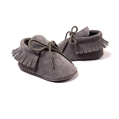 Itaar–Mocasín Borlas Zapatos de Cuna suave única prewalker con cordones para bebé para niños y niñas rojo rosso Talla:0-6 meses gris