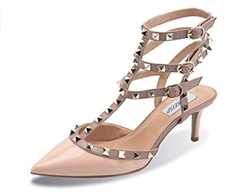 Womens Studded Sandals Pointed Toe Slingback Strappy Kitten Heels Rivet Ankle Strap Dress Pumps Nude Patent PU US8 EU39
