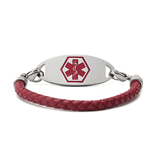 Amozo Jewelry Red Leather Bariatric Medical Alert Bracelet For Women Red Medical Id Tag