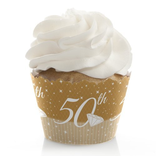Anniversary Cupcake - 50th Anniversary - Anniversary Decorations - Party Cupcake Wrappers - Set of 12