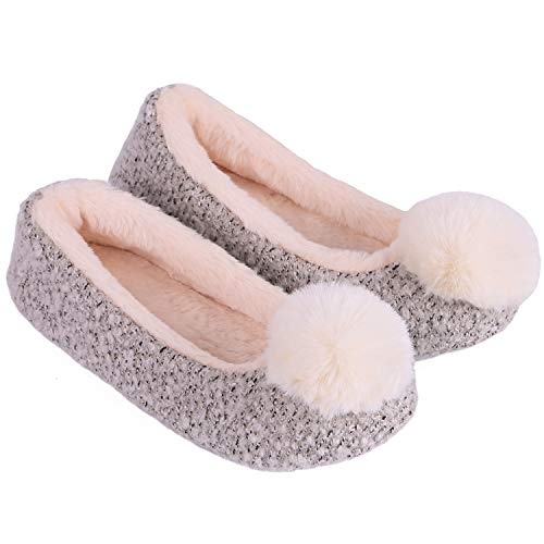 LongBay Women's Cute Ballerina Slippers Bunny Faux Fur Pom Pom Memory Foam Comfy Knitted House Shoes Booties (9 B(M) US, Gray)